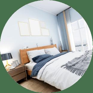 枕やベッドなどの寝具